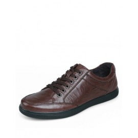England Lace-Up Ruched Trim Shoes with Round Toe