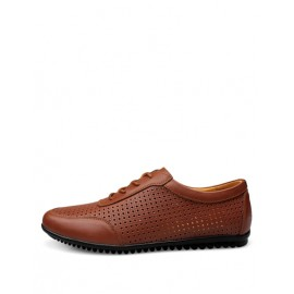 Business Lace-Up Perforate Trim Shoes in Solid Color