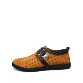 Leisure Perforated Trim Lace-Up Shoes in Two Tone