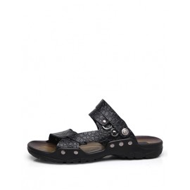 Casual Studs Detail Utility Slippers in Croco Veins