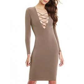 Sexy Deep V-Neck and Lace-Up Trim Close Fitting Dress