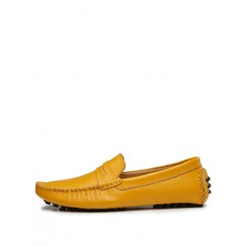 Loose-Fit Solid Color Ruched Trim Loafers with Almond Toe