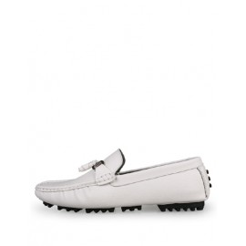 All-Season Fringe Trim Metallic Loafers in Pure Color