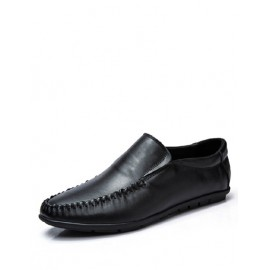 Concise Stitching Trim Ruched Loafers in Solid Color