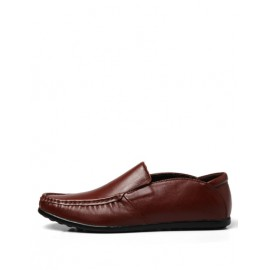 Leisure Scallop Edge Square Toe Loafers in Solid Color