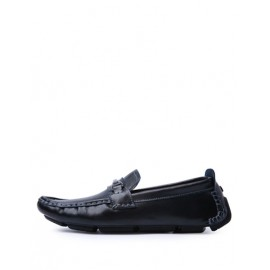 Faddish Stitching Trim Loafers with Metallic Buckle