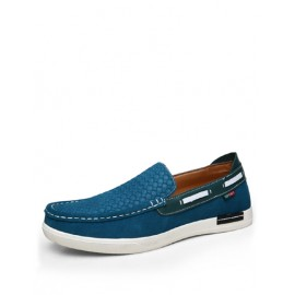 Casual Stitching Trim Two Tone Loafers with Dots Embossed