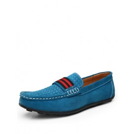 Leisure Stripe Pattern Loafers with Dots Embossed