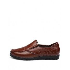 Casual Perforate Trim Loafers with Square Toe