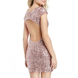 Attractive Bling Bling Trim Slinky Dress with Hollow Out Back