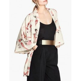 Refreshing Bird and Floral Printed Kimono with Wild Sleeve Size:S-L