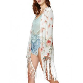 Streetwear Tassel Trim Floral Printed Kimono with Open Front Size:S-L