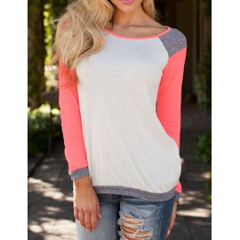 Concise Raglan Sleeve Color Block Basic Tee with Round Neck