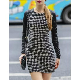 Modish Houndstooth Printed PU Long Sleeve Work Dress in Black