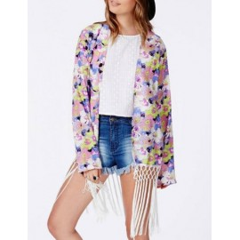 Bohemian Tassel Hem Colorful Floral Printed Kimono with Long Sleeve Size:S-L