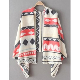 Fashionable 186CM Geometric Print Frayed Scarf