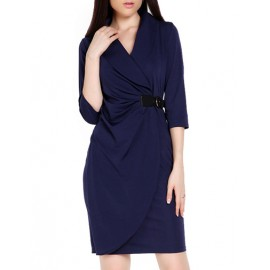 OL 3/4 Sleeve V Neck Wrap Work Pencil Dress in Dark Blue