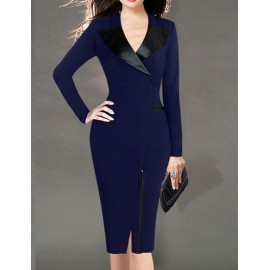 Official Lapel Collar Slanted Zip Front Bodycon Work Dress in Solid Color