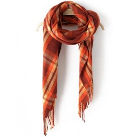 Vibrant Plaid 185CM Print Tassel Warm Cape Scarf
