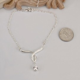 A014 Free Shipping New Design Large Stock Delicate Handmade Cheap Silver Plated Anklet Bulk Sale