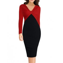 OL V-Neck Twist Knot Two Tone Work Dress with Long Sleeve