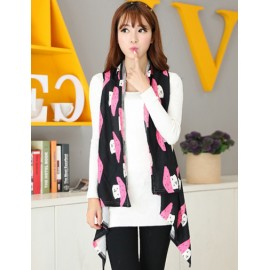 Lovely Mushroom 130CM Pattern Multi Way Long-Wearing Scarf
