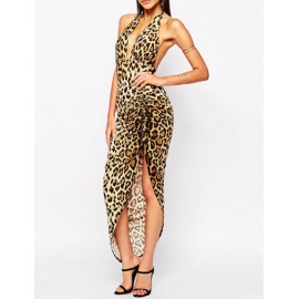 Seductive Halter Leopard Printed Dress with Asymmetric Hem
