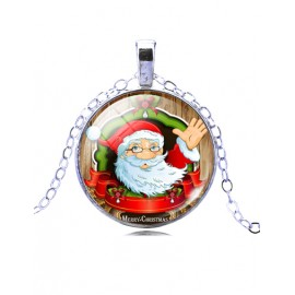 Merry Christmas Santa Claus Printed Ball Gem Necklace with Silvery Chain