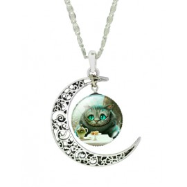 Naughty Smiling Cat Gem Ornament Necklace with Moon Cutwork