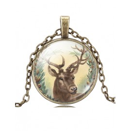 Merry Christmas Dear Printed Bronze Necklace with Ball Gem