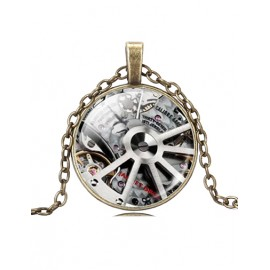 Punk Silvery Wheel Gear Gem Fringe Necklace with Bronze Chain