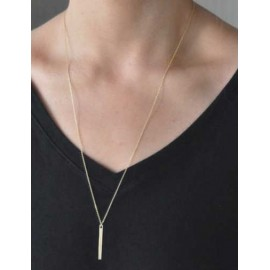 Voguish Metallic Stick Pendant Necklace in Gold