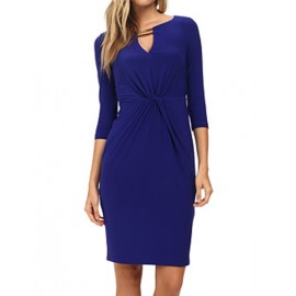 Exquisite Elbow Sleeve Split-Neck Knot Dress