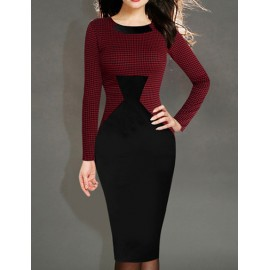 Classical Color Block Long Sleeve Slinky Pencil Dresst