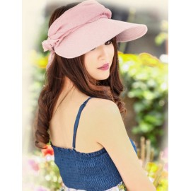 Trendy Open Top Collapsible Sun Hat with Floral Adornment