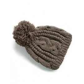 Endearing Twist Knitted Snowball Hat in Pure Color For Women