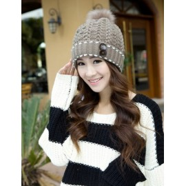 Pretty Knitted Fuzzy Bobble Hat with Buttons Adornment For Women