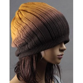 Sporty Non-Brim Knitted Beanie Hat in Ombre Color For Women