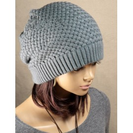 Snug Pure Color Knitted Beanie Hat with Rhombus Grains For Women