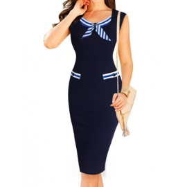 Chic Sleeveless Slinky Navy Dress with Concealed Zip Back