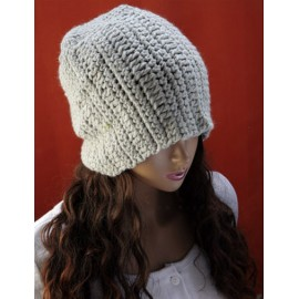 Sweet Pure Color Knitted Beanie Hat with Detachable Rosette For Women