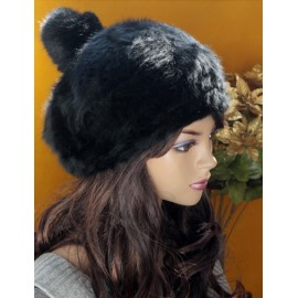 Luxurious Pure Color Bobble Hat with Fluffy Overall For Women
