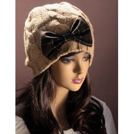 Attractive Knitted Twist Beanie Hat with Bowknot Ornament For Women