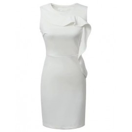 Celeb Slanted Ruffle Trim Bodycon Tank Dress in White