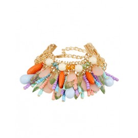 Lovely Brighten Bead Tassel Embellished Chain Bracelets