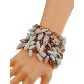 Fabulous Asymmetrical Stone Inlay Chain Bracelets For Women