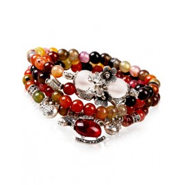 Tribal Style Colorful Pearl String Layered Bracelets