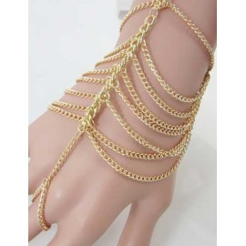 Styling Layered Chain Ring Trim Gold Bracelet