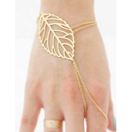 Maddish Openwork Leaf Design Chain Trim Bracelet in Gold