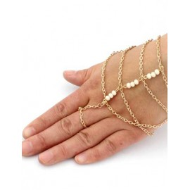 European Beads Detail Layered Chain Bracelet in Gold